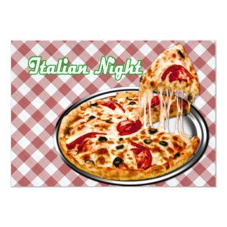 Pizza na noite Checkered vermelha do italiano de Convites Personalizados