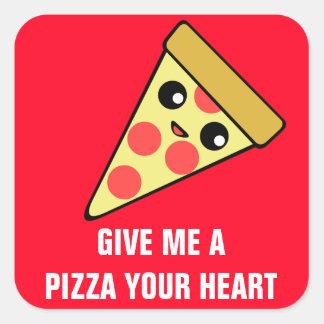 Pizza seu coração II Adesivo Quadrado