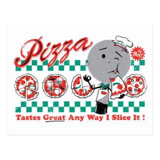 Pizza toda a maneira eu corto-a que o cartão retro