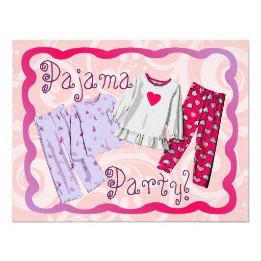 PJ do convite de festas do pijama, os cor-de-rosa