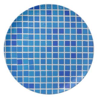 placa azul do azulejo do banheiro prato de festa