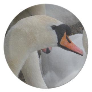 Placa branca da melamina da cisne pratos de festas