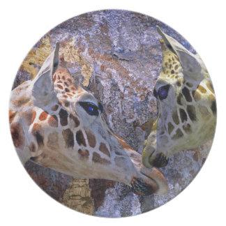 Placa da fantasia das crianças azuis dos girafas d prato de festa