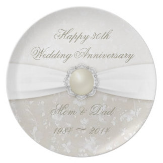 Placa da festa de aniversário do casamento do prato