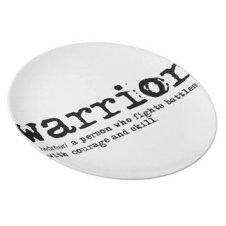 Placa da melamina da definição do guerreiro pratos