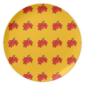 Placa da melamina das folhas e das bolotas do prato