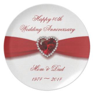 Placa da melamina do aniversário de casamento do pratos