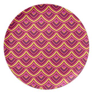 Placa da melamina do dragão do papel chinês por louças de jantar