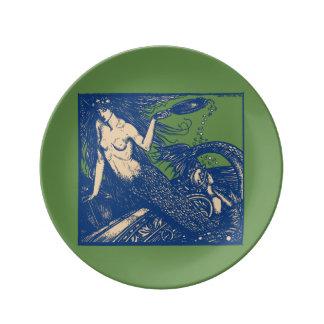 Placa da porcelana da sereia e do espelho prato de porcelana