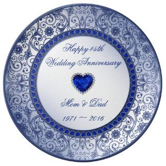 Placa da porcelana do aniversário de casamento da prato de porcelana