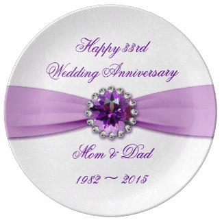 Placa da porcelana do aniversário de casamento do prato de porcelana