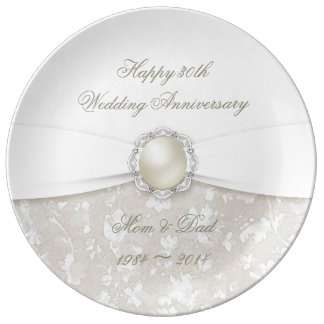 Placa da porcelana do aniversário de casamento do pratos de porcelana
