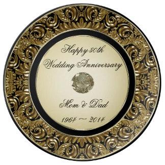 Placa da porcelana do aniversário de casamento prato de porcelana
