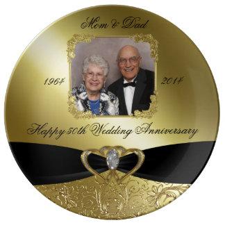 Placa da porcelana do aniversário de casamento pratos de porcelana
