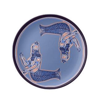 Placa da porcelana do Merman da sereia Pratos De Porcelana