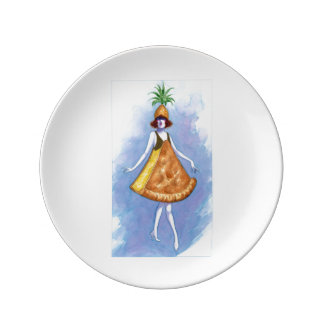 Placa da torta do abacaxi louça