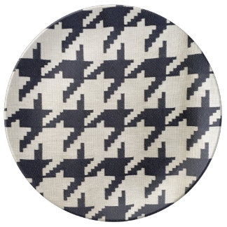 Placa de comensal da porcelana de Houndstooth Prato De Porcelana