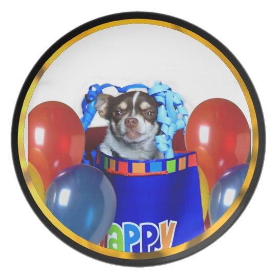 Placa de comensal do cão da chihuahua do prato de festa