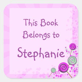 placa de livro cor-de-rosa do pop do lolly adesivo quadrado