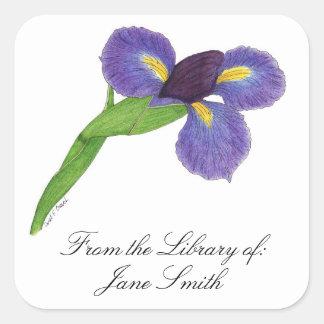 Placa de livro da flor da íris japonesa adesivo quadrado
