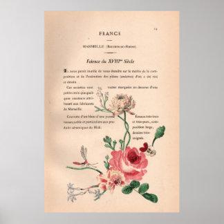 Placa de livro francesa do chique com impressão da