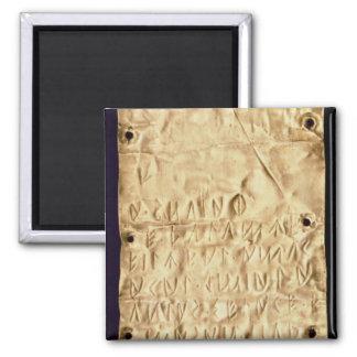 """Placa de ouro com """"breve"""" inscrição de Etruscan, d Ima"""