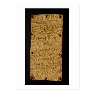 Placa de ouro com inscrição do Phoenician, do Cartão Postal