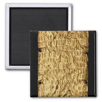 """Placa de ouro com inscrição """"longa"""" de Etruscan pa Imã De Geladeira"""