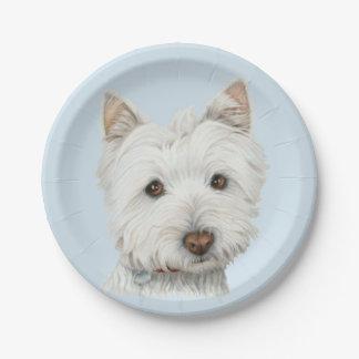 Placa de papel de arte do cão de Westie