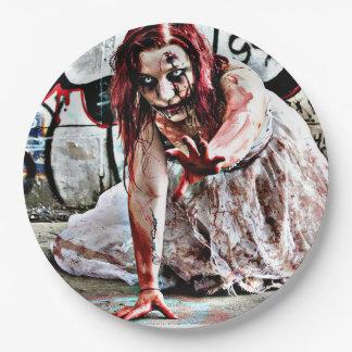 Placa de papel do partido do apocalipse da menina prato de papel