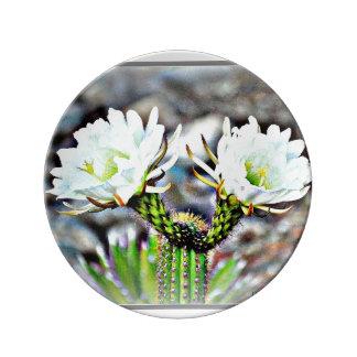 Placa decorativa da porcelana - duas flores do prato de porcelana