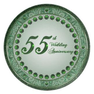Placa do aniversário de casamento 55 pratos