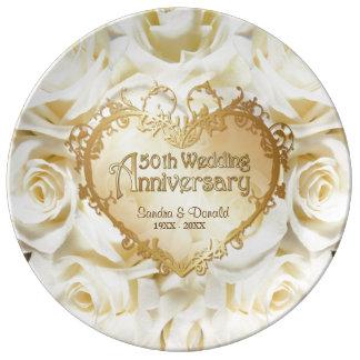 Placa do aniversário de casamento do rosa branco prato de porcelana