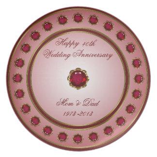 Placa do aniversário de casamento do rubi prato de festa
