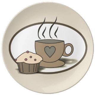 Placa do café e do muffin para amantes do café pratos de porcelana