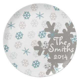Placa do casamento/aniversário do floco de neve da pratos