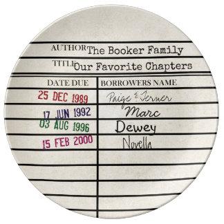 Placa do gráfico do cartão de biblioteca dos prato de porcelana