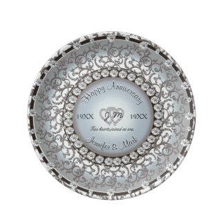 Placa do monograma do aniversário de casamento pratos de porcelana