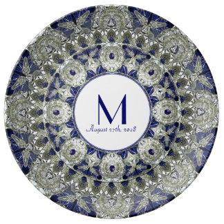 Placa do monograma do casamento da estrela da pratos de porcelana