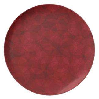 Placa do vermelho do Natal do teste padrão do Prato