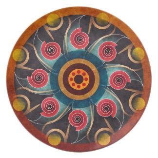 Placa floral da arte do vetor do abstrato da cor prato