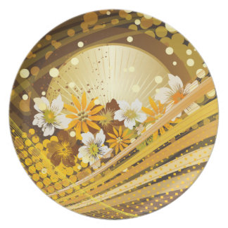 Placa floral da forma 13 pratos