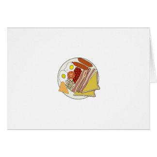 Placa fritada do pequeno almoço inglês cartão comemorativo