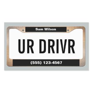 Placa licenciada do carro legal do serviço do táxi cartão de visita