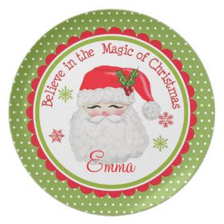 Placa personalizada de Papai Noel Louças De Jantar