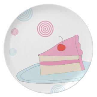 Placa retro do bolo louça de jantar