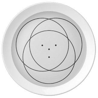 Placa reversa da flor 3 do torno louça de jantar