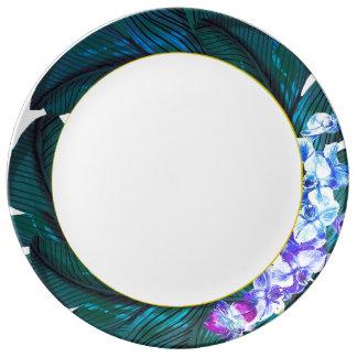 Placa tropical da orquídea louça de jantar
