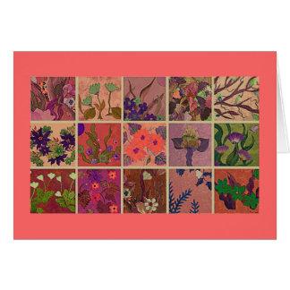 Placas de janela corais do cartão das flores