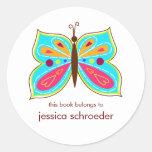 Placas de livro da borboleta do Aqua Adesivo Em Formato Redondo